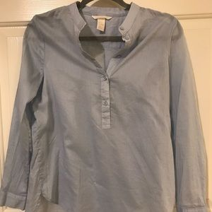 Long Sleeve Light Blue Blouse